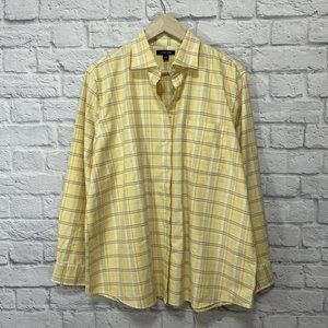 Lands' End X-Large Flannel Top Yellow Button Shirt